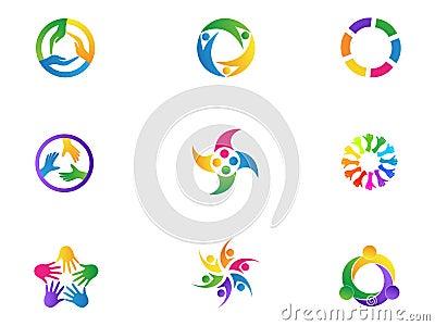 Care hands logo teamwork people diversity unity symbol vector icon set design. Vector Illustration