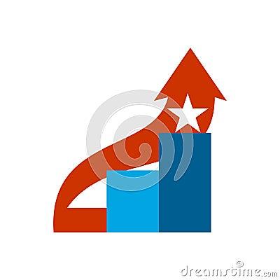Career ladder logo. Steps sign. Climbing emblem. Vector Illustration