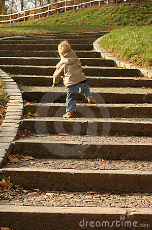Free Career Opportunities. Child Goes Upstairs. Stock Photography - 9469842