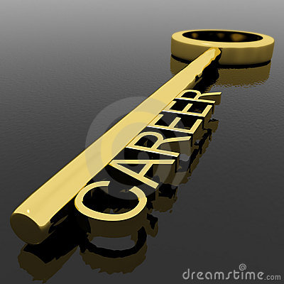Career Text On A Gold Key With Black Background