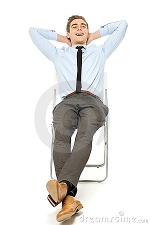 Carefree businessman sitting