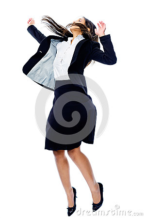 Carefree businesswoman jump