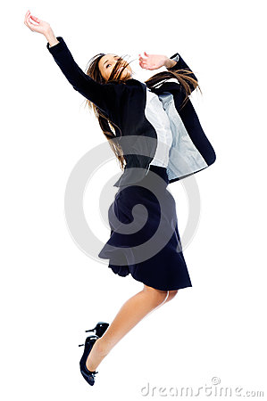 Carefree businesswoman jump