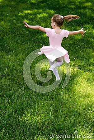 Carefree child dancing