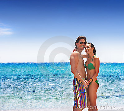 Carefree couple on the beach