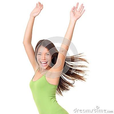 Carefree isolated joyful woman