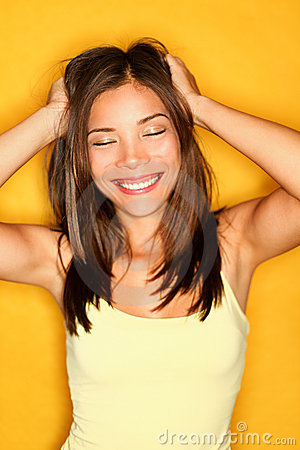 Carefree playful young woman