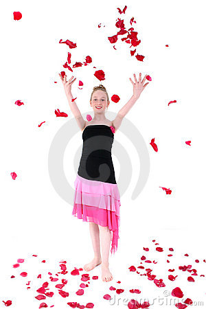Carefree Teen Throwing Rose Petal Into The Air