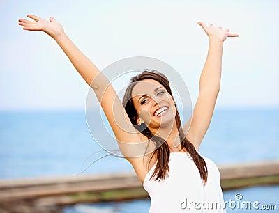 Carefree Woman Having Fun Outdoors