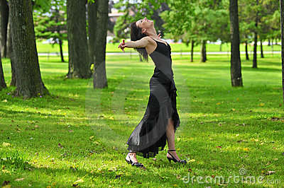 Carefree woman in park