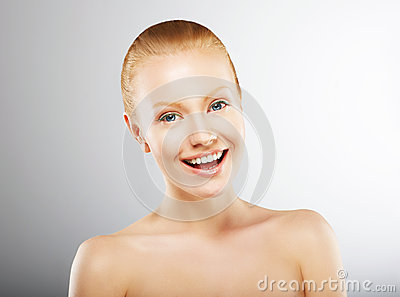 Carefree Young Woman Having Fun and Smiling. Pleasure
