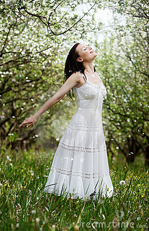 Carefree Young Woman In Park Stock Photo - Image: 14347880