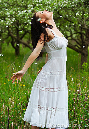 Carefree young woman in park