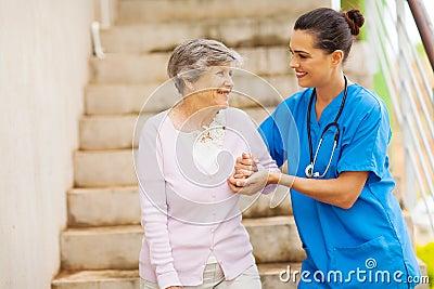 Caregiver senior stairs