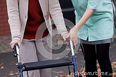 Carer teaching using walker