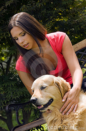 Caressing the dog