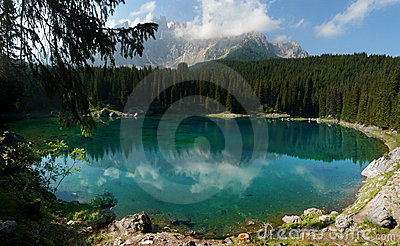 Carezza Lake (Karersee) in the Italian Dolomites