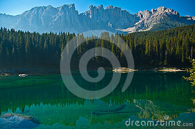 Carezza s lake and mount Latemar