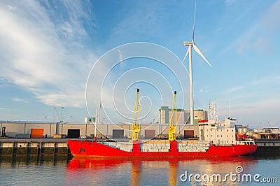 Cargo boat in harbor
