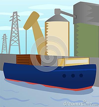 Cargo boat in seaport