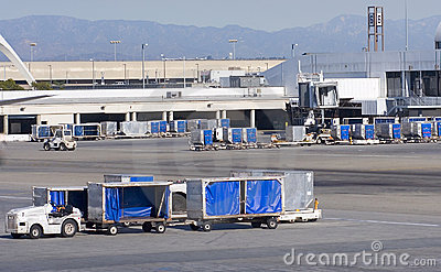 Cargo carts in airport