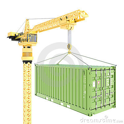 Cargo container delivery with crane isolated