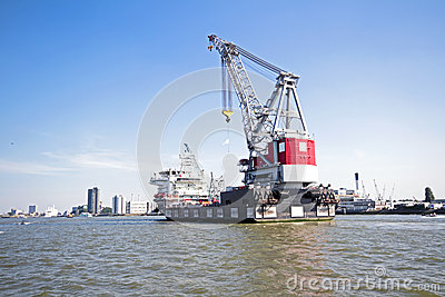 Cargo container in the harbor from Rotterdam Netherlands