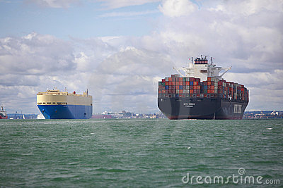 Cargo and Container Ship Editorial Image