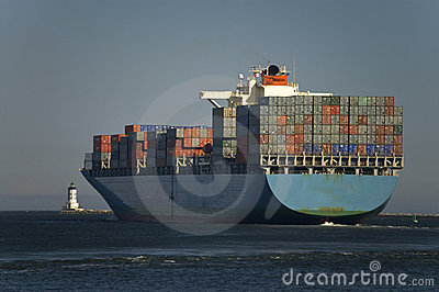 Cargo Container Ship Leaves Port