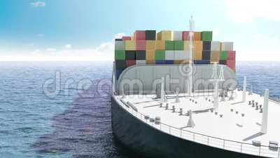 Cargo container ship in a sea stock illustration