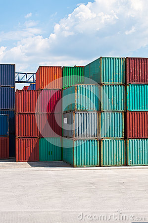 Cargo container on a storage site