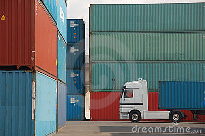 Cargo Container and truck
