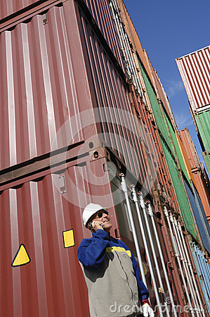 Cargo containers and dock worker