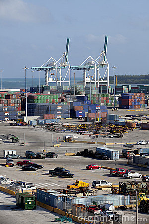 Cargo Containers at Shipping Dock Editorial Stock Photo