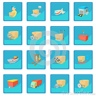 Cargo logistics icon blue app Vector Illustration
