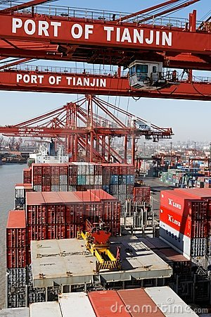Cargo operations on a container ship in China Editorial Stock Photo