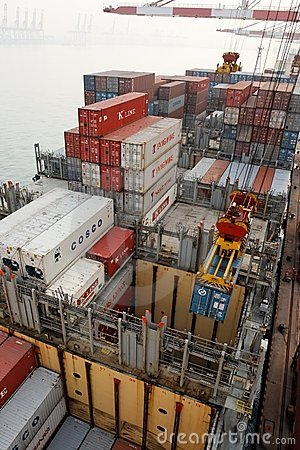 Free Cargo Operations On A Container Ship In China Royalty Free Stock Photos - 13296048