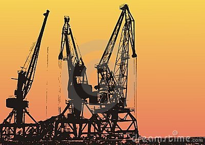 Cargo port with cranes