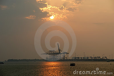 Cargo port on a sunset, Cochin