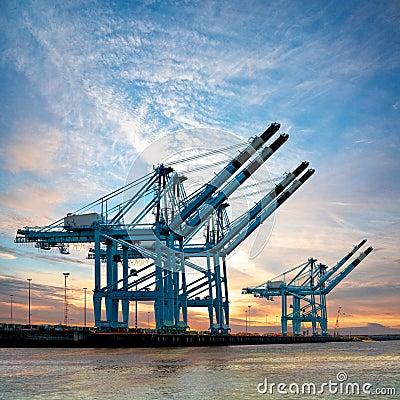 Cargo sea port. Cranes in the port. Sunset.