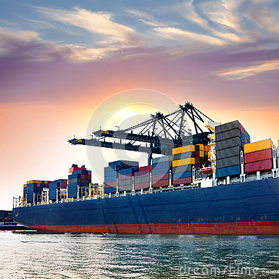 Free Cargo Sea Port. Sea Cargo Cranes. Stock Image - 28203261