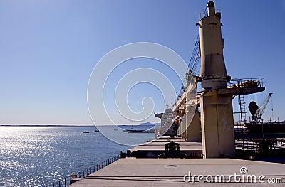 Big Cargo Ship Upper Deck - Water View - Industries
