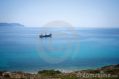 Cargo ship in Aegean sea