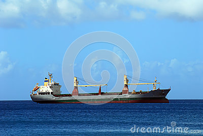 Cargo ship on Caribbean Sea