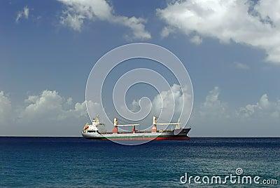Cargo ship on Caribbean Sea