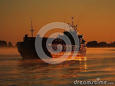Cargo ship on Danube