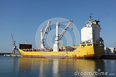 Cargo Ship Docked in Port