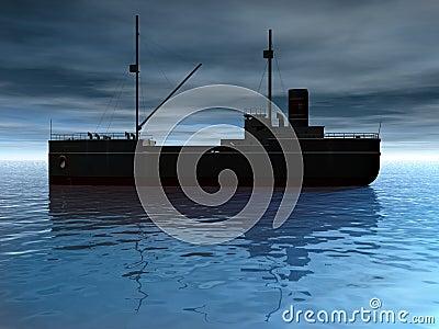 Cargo Ship at Dusk