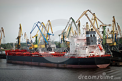 Cargo ship in Finnish harbor