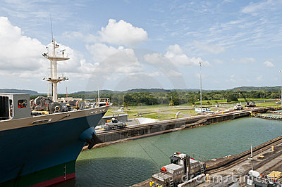 Cargo ship in the Gatun Locks, Panama